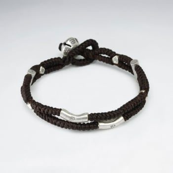 Brown Double Waxed Cotton Braided Bead Bracelet