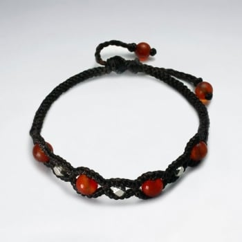 Brown Wax Cotton and Red Bead Bracelet