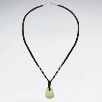 Brown Waxed Cotton Aragonite Pendant Necklace