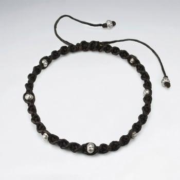 Brown Waxed Cotton Bead Ball Studded Bracelet
