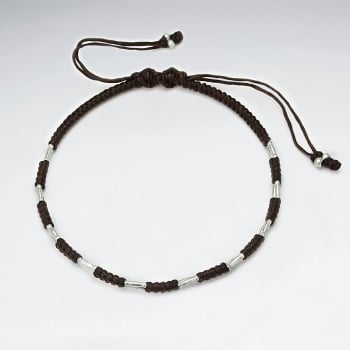 Brown Waxed Cotton Bead Strung Bracelet