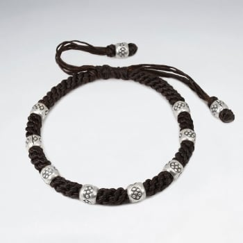 Brown Waxed Cotton Braid Twist Ornate Bead Bracelet