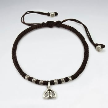 Brown Waxed Cotton Corded Bead & Charm Bracelet