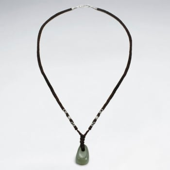 Brown Waxed Cotton Knotted Aventurine Pendant Necklace
