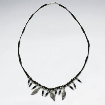 Brown Waxed Cotton Multi Charm Feather Dangle Necklace