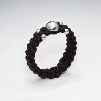 Brown Waxed Cotton Ring with Silver Ball