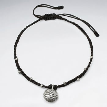 Brown Waxed Cotton Silver Circle Anklet