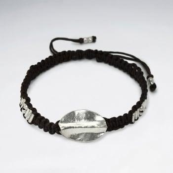 Brown Waxed Cotton Silver Oval Leaf Bead Bracelet