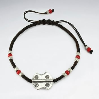Brown Waxed Cotton Silver & Red Accent Bracelet