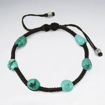 Brown Waxed Cotton Silver Turquoise Staggered Stone Bead Bracelet