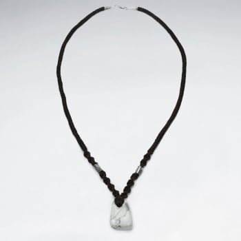 Brown Waxed Cotton Twist Cord Howlite Pendant Necklace
