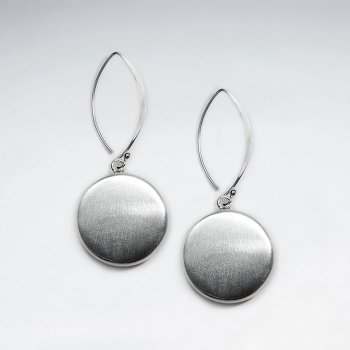 Brushed Circle Drop Silver Earring
