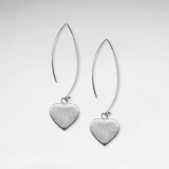 Brushed Long Drop Heart Silver Earring