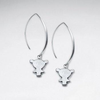 Brushed Long Silver Silhouette Charm Dangle Drop Hook Earrings