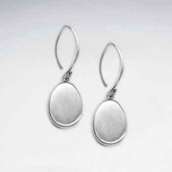 Brushed Oval Drop Silver Earring