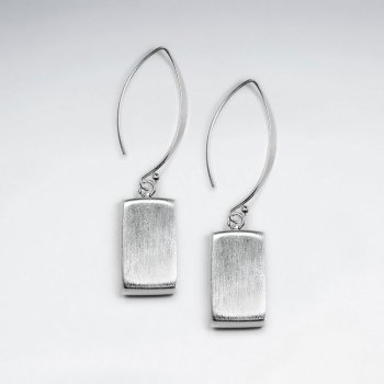 Brushed Rectangle Drop Silver Earring