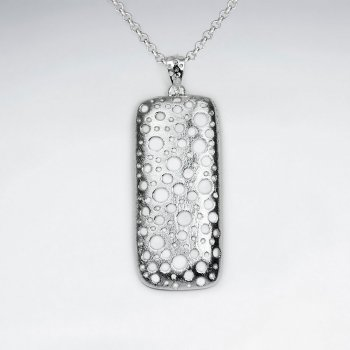 Brushed Rectangle Silver Pendant With Dot Cutout