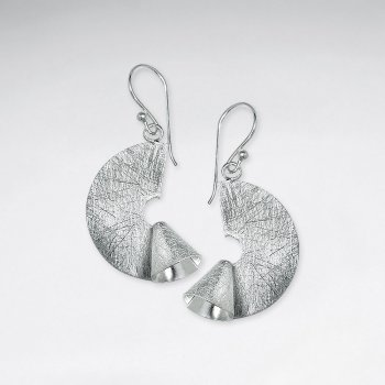 Brushed Silver Dangle Organic Shape Half Disc Earrings