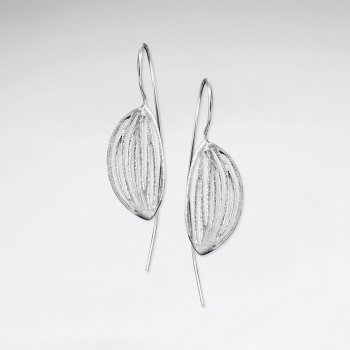 Brushed Silver Drooping Leaf Design Drop Long Hook Earrings