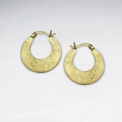 Brushed Silver Open Disc Hoop Earrings
