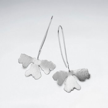 Brushed Silver Organic Clover Inspired Dangle Hook Earrings