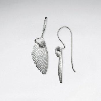 Brushed Silver Wing Drop Hook Earrings