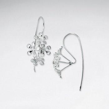 Brushed Sterling Silver Organic Burst Shape Dangle Hook Earrings