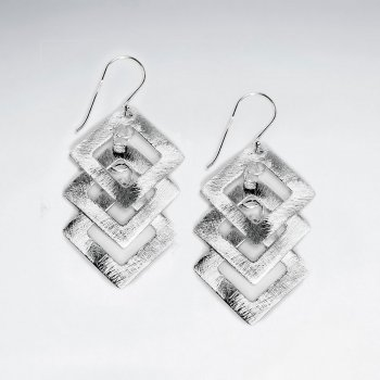 Brushed Triple Open Squares Silver Earring