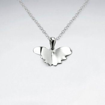 Butterfly Silhouette Pendant in Highly Polished Sterling Silver