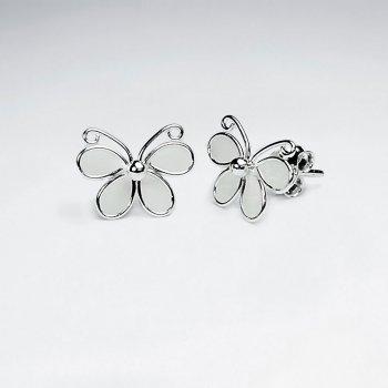 Butterfly Silver Earring With White Enamel