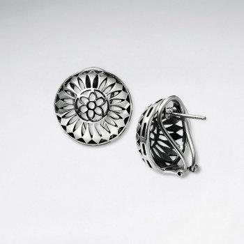 Captivating Oxidized Half Globe Filigree Earrings