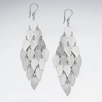 Captivating Teardrops Sterling Silver Matte Cascade Earrings