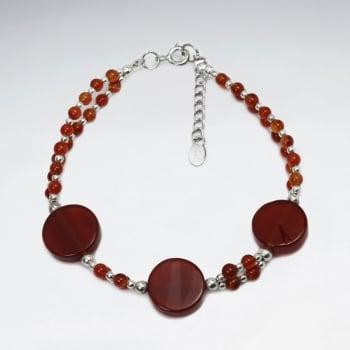 Carnelian Ball Beads & Flat Stones Bracelet