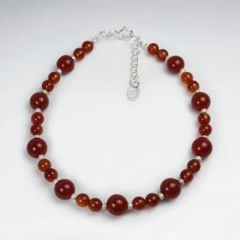 Carnelian Ball & Sterling Silver Bracelet