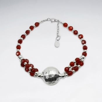 Carnelian Beads & Sterling Silver Faceted Ball Charm Bracelet