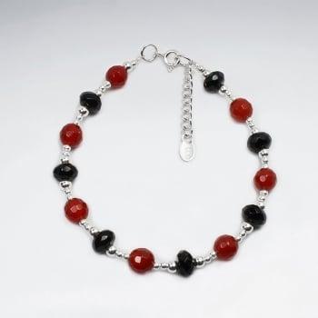 Carnelian & Black Stone Bead Bracelet