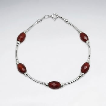 Carnelian Faceted Bead & Silver Spacers Clasp Bracelet