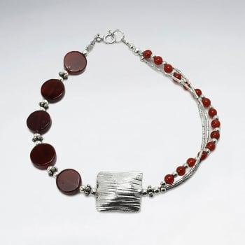 Carnelian Irregular Strands Sterling Silver Bead Bracelet