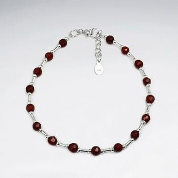Carnelian & Sterling Silver Dainty Clasp Bracelet