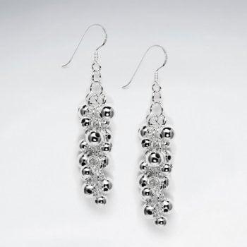 Cascaded Beads Silver Hook Earring