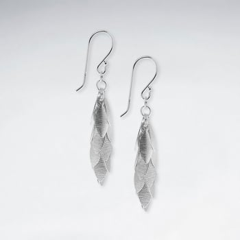 Cascading Matte Silver Feathered Dangle Earrings