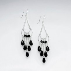 Chandelier Silver Earring Eith Dangling Faceted Black Stone