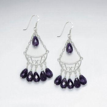 Chandelier Silver Earring With Dangling Faceted Amethyst