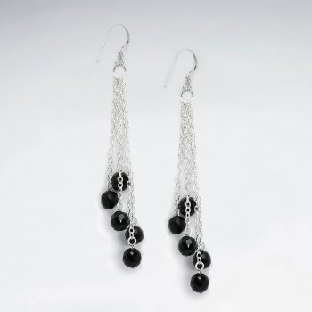 Chandelier Silver Earring With Dangling Round Faceted Black Stone