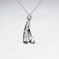 Charm Embossed Rolled Silver Pendant