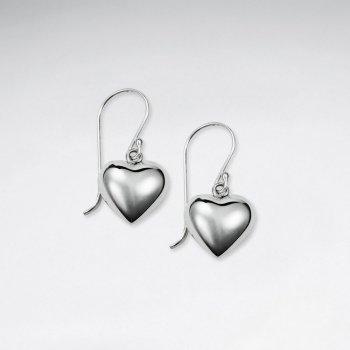 Charming Dangle Drop Polished Silver Heart Design Drop Hook Earrings