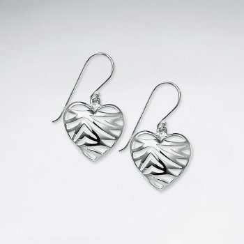 Charming Filigree Sterling Silver Romantic Heart Shape Dangle Hook Earrings