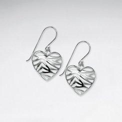 Charming Filigree Sterling Silver Romantic Heart Shape Dangle Hook Earrings