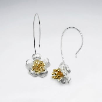 Charming Floral Blossom Detailed Drop Hook Earrings in Silver