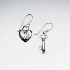 Charming Lock and Key Dangle Earring Set in Silver
